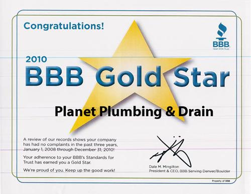 bbb gold star award plumber-plumbing-plumbers boulder