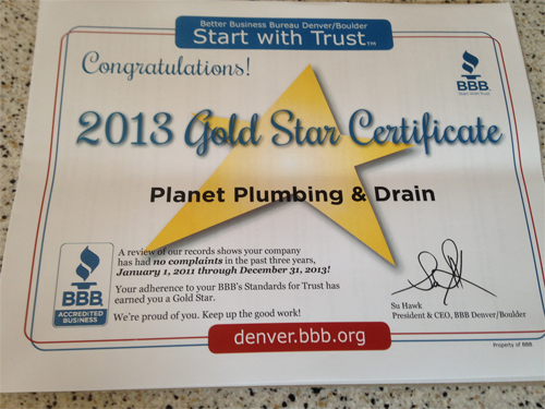 bbb gold star certificate 2013 plumber boulder