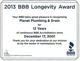 bbb longevity award plumbing company boulder