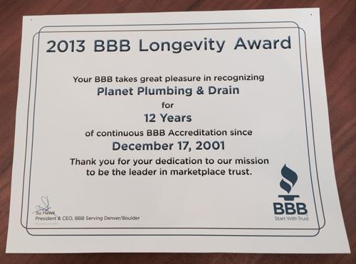 bbb longevity award 2013 boulder plumber