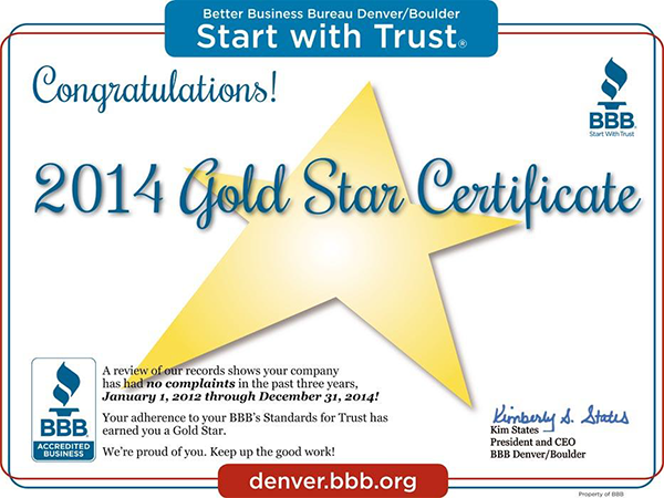 bbb gold star winner 2014 boulder plumber