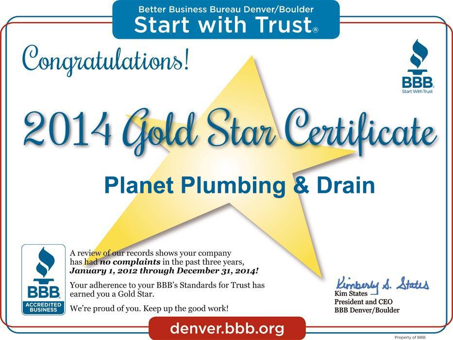 bbb gold star plumbing boulder co