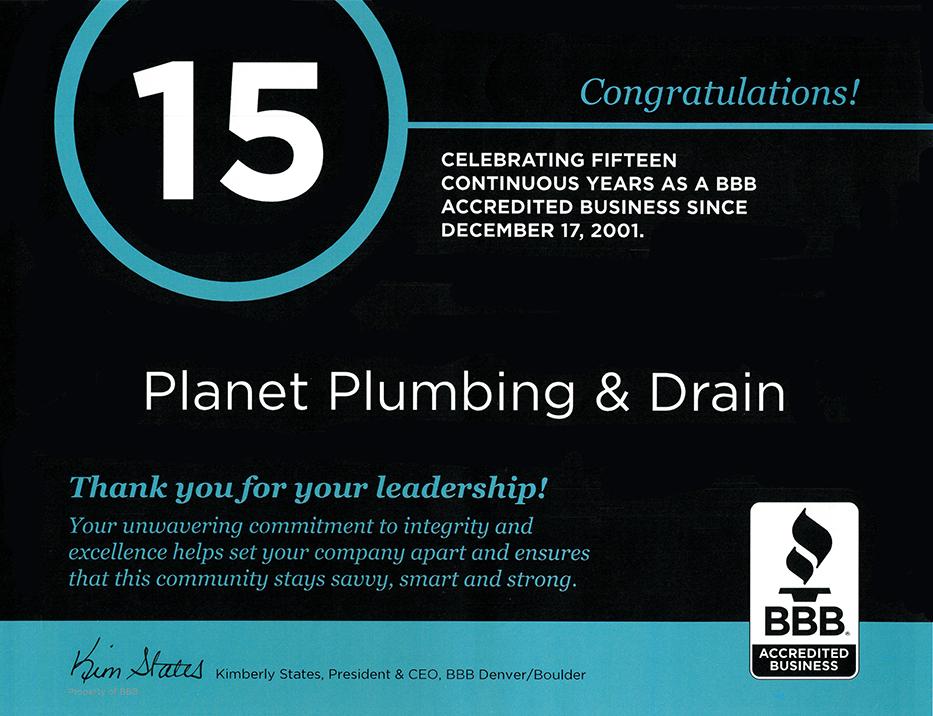 bbb 15 years plumbing boulder co