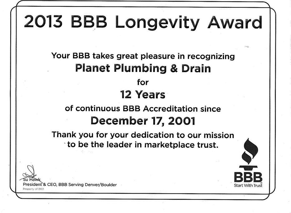 bbb longevity award plumbing boulder co